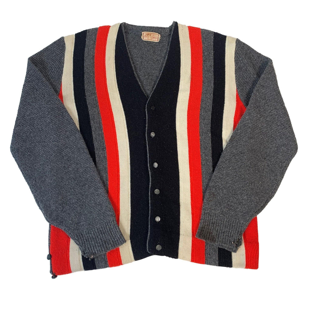"Vintage 100% Orlon Acrylic ""Striped"" Cardigan"