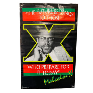 "Vintage 1992 Malcolm X ""The Future Belongs"" Poster"