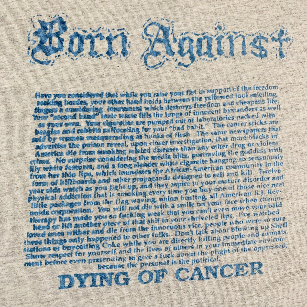 "Vintage Born Against ""Dying Of Cancer"" Pocket T-Shirt - jointcustodydc"