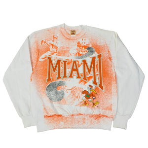 "Vintage University Of Miami ""Hurricanes"" All Over Print Crewneck Sweatshirt"