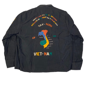 "Vintage Black Vietnam War ""Tay Ninh '67-'68"" Tour Jacket"