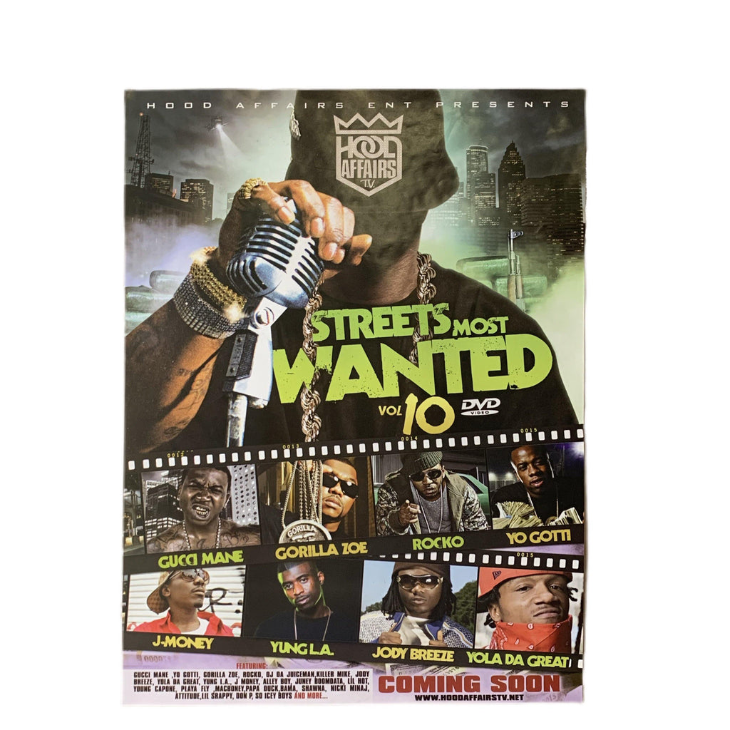 vintage original Streets Most Wanted Vol 10 Mixtape Poster Gucci Mane Gorilla Zoe Rocko Yo Got J-Money Yung L.A. Jody Breeze Yola Da Great