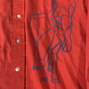"Vintage Hand Painted ""Horse"" Button Up Shirt"