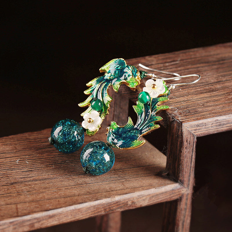 Blue and Green Peacock Earrings