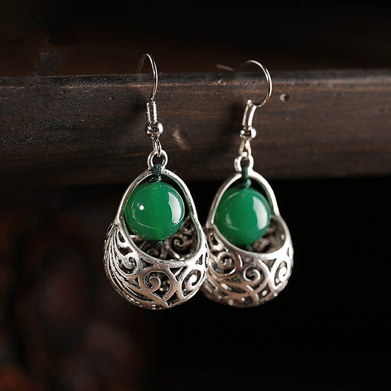 Green Agate and Ancient Silver Alloy Earrings