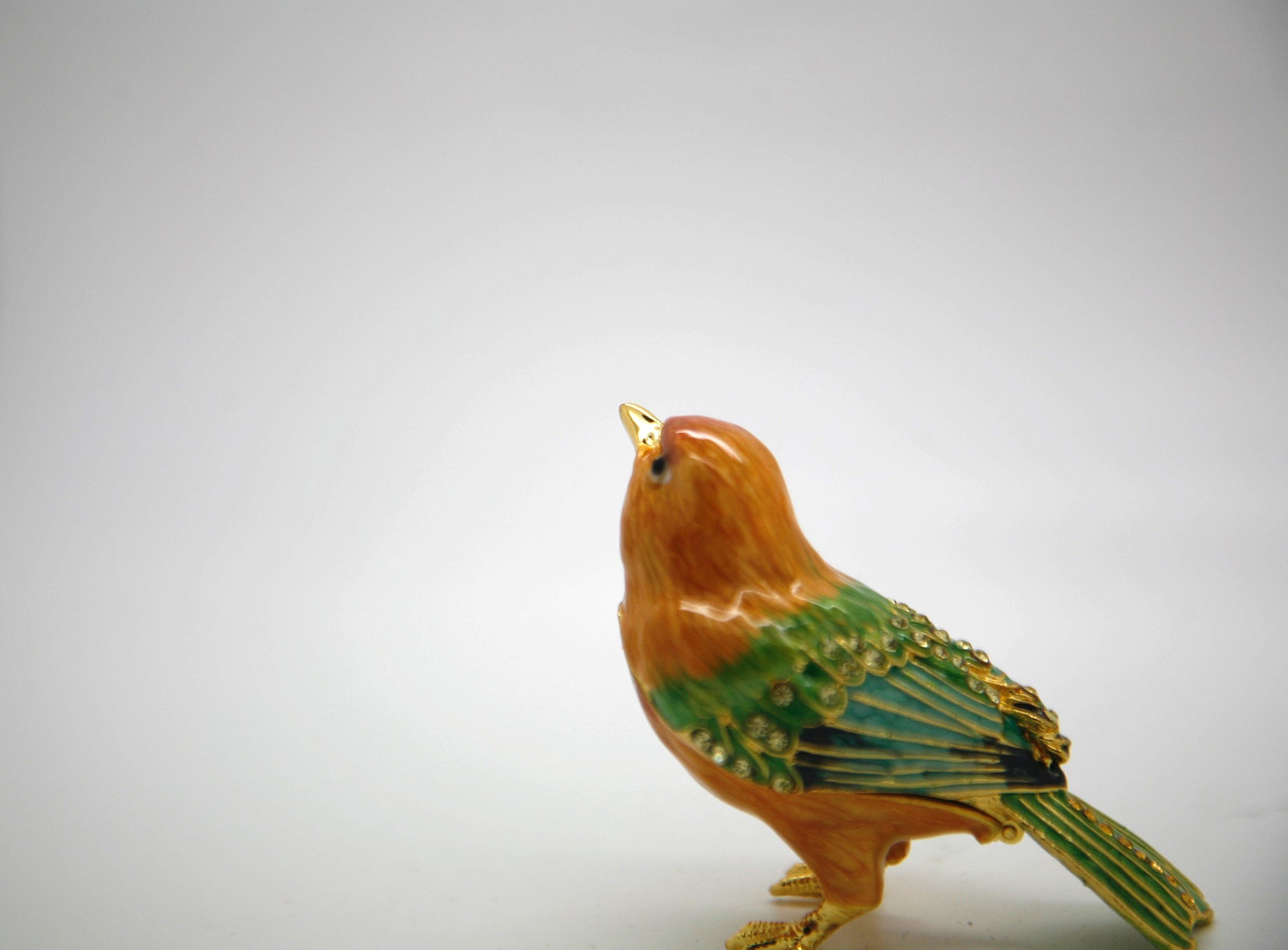 Yellow Green Bird Trinket Box