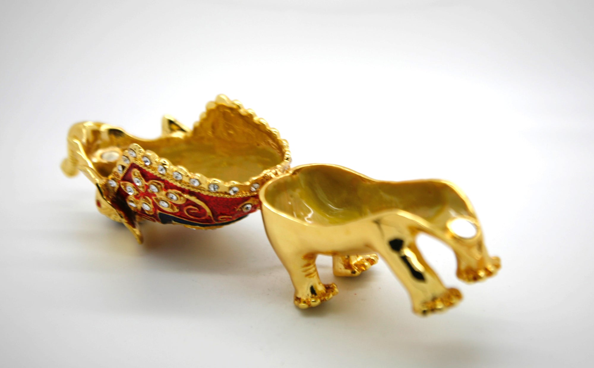 Red-Mantle Golden Elephant Trinket Box