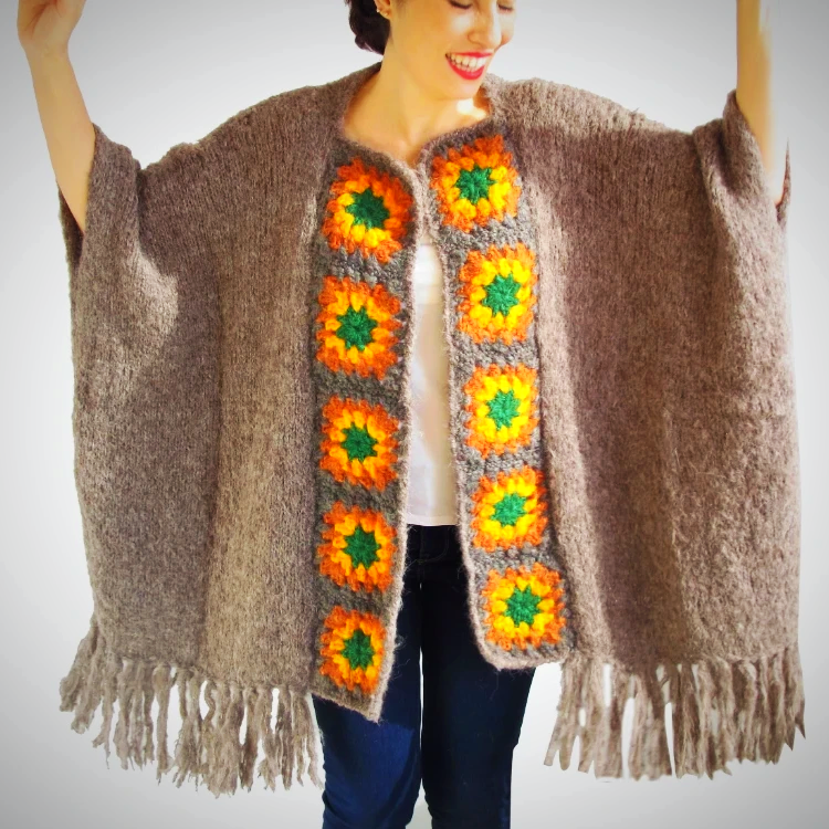 Plus Size hand knitted wool cardigan