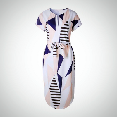 Stylish Plus Size Geometric Patterned Summer Dress