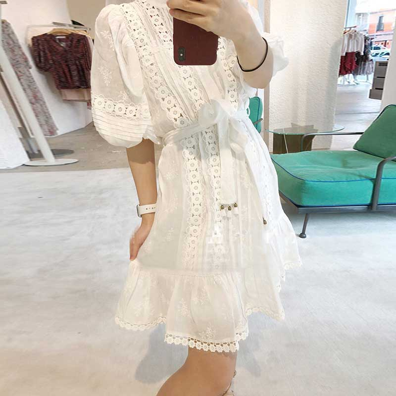 Flower Lace trimmed  Dress