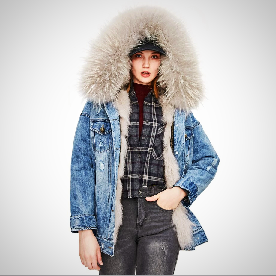 DENIM PARKA DETACHABLE LINING HOODED JACKET