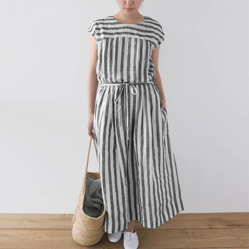 Striped Sleeveless  Long Dress