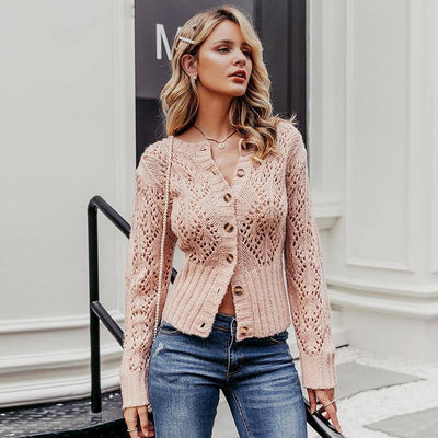 HIGH WAIST KNITTED CARDIGAN SWEATER