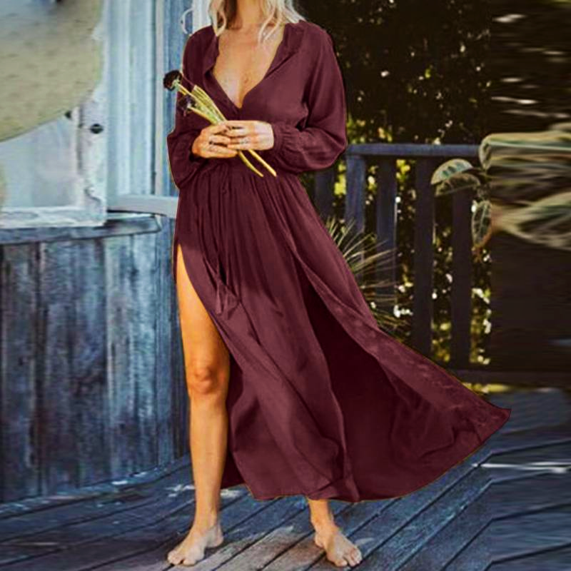 LONG SLEEVE HIGH SPLIT  DRESS