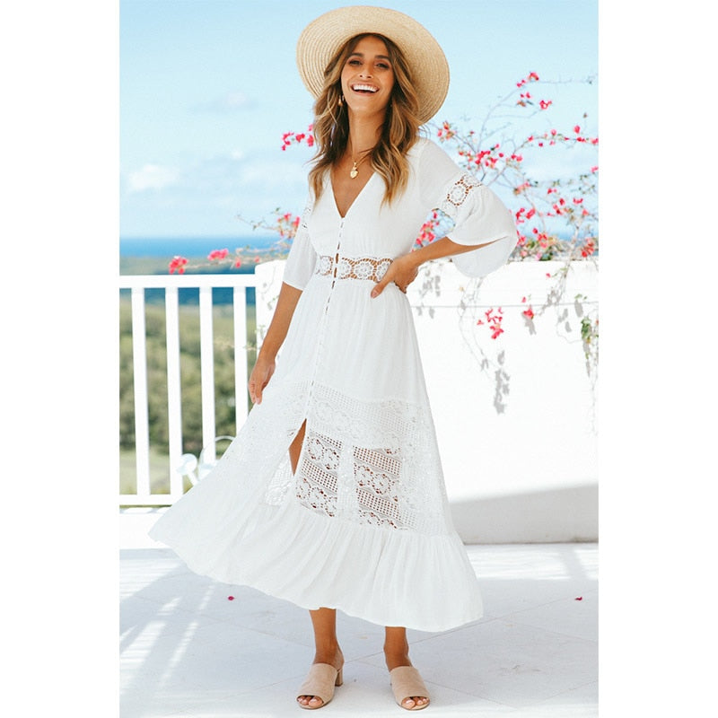 White Lace Tunic Beach Dress