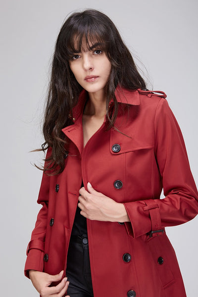 Plus Size Casual Button Up Waterproof Trench Coat
