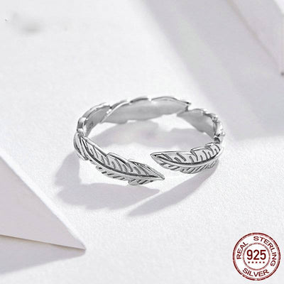 SILVER FEATHER WING ADJUSTABLE RING