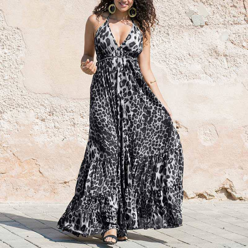 Spaghetti Strap Ruffle Swings Maxi Long Dress
