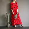 PLUS SIZE PRINTED SLEEVE DOT DRESS