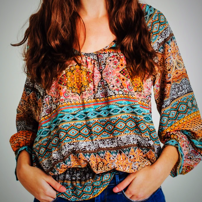 Printed Long Sleeve Casual Top
