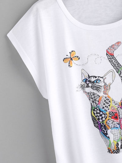 Casual Preppy Round Neck Cat Print Loose Tee