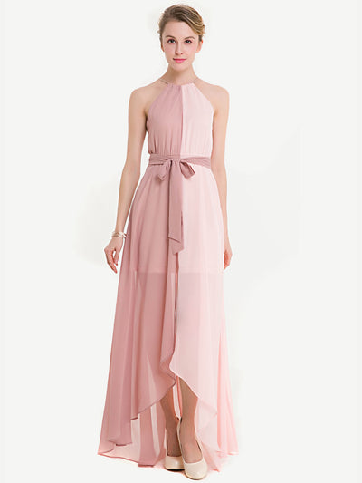 Two Tone Dip Hem Chiffon Weave Strap Dress