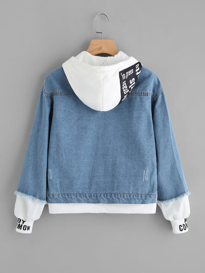Ribbed Knit Trim Hooded Denim Jacket