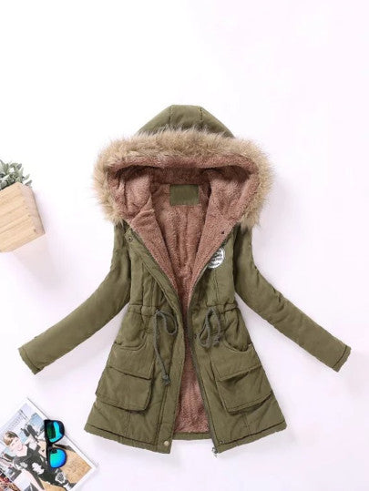 Faux Fur Lined Parka Hooded Coat