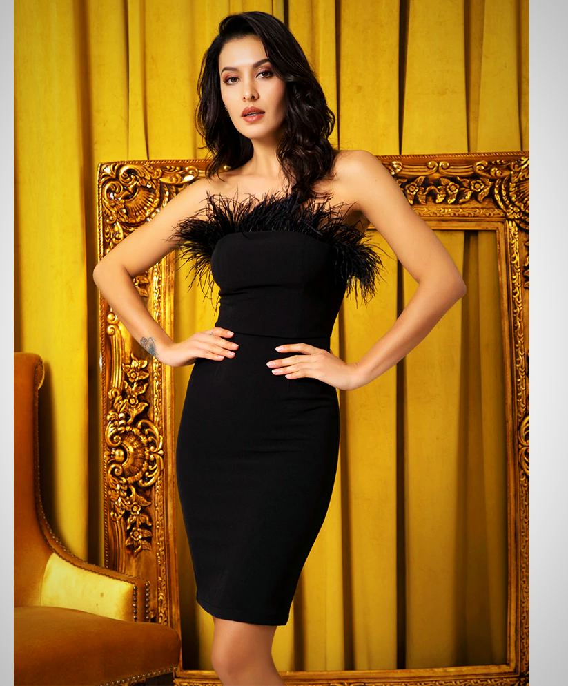 FEATHER BODYCON PARTY DRESS