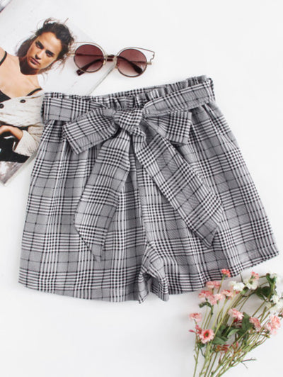 Self Tie Waist Plaid Straight Leg Shorts with Belt