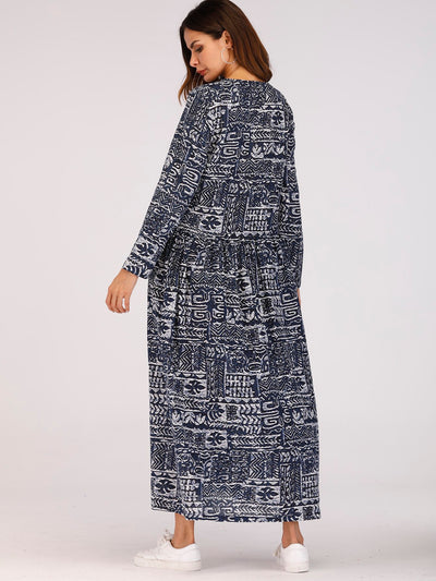 Long Sleeve Leaf Print Long Dress