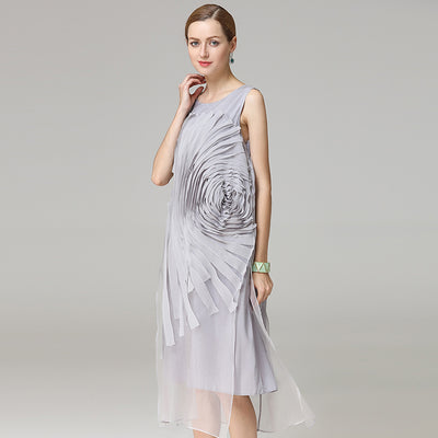 liquid flower silk dress