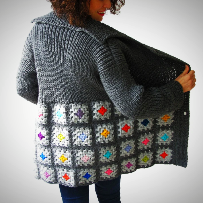 Hand knit Multicolor cardigan
