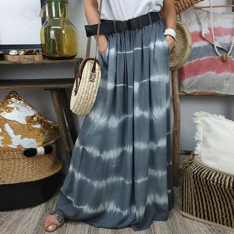 PLUS SIZE CASUAL BOHEMIAM PRINTED SKIRT