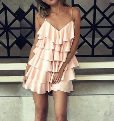CHIFFON BACKLESS RUFFLE PARTY DRESS