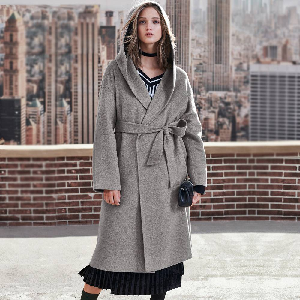 Casual Plus Size Long Woolen Hooded Coat