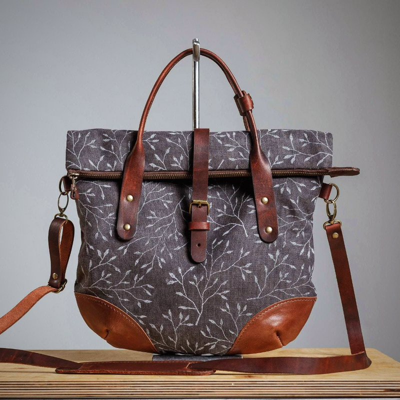 Leather blockprint tote handbag