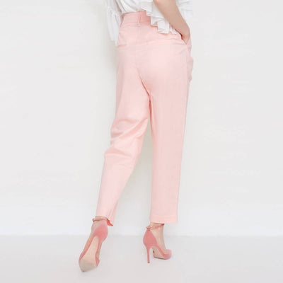 Stylish High Waist Formal Cotton Pants
