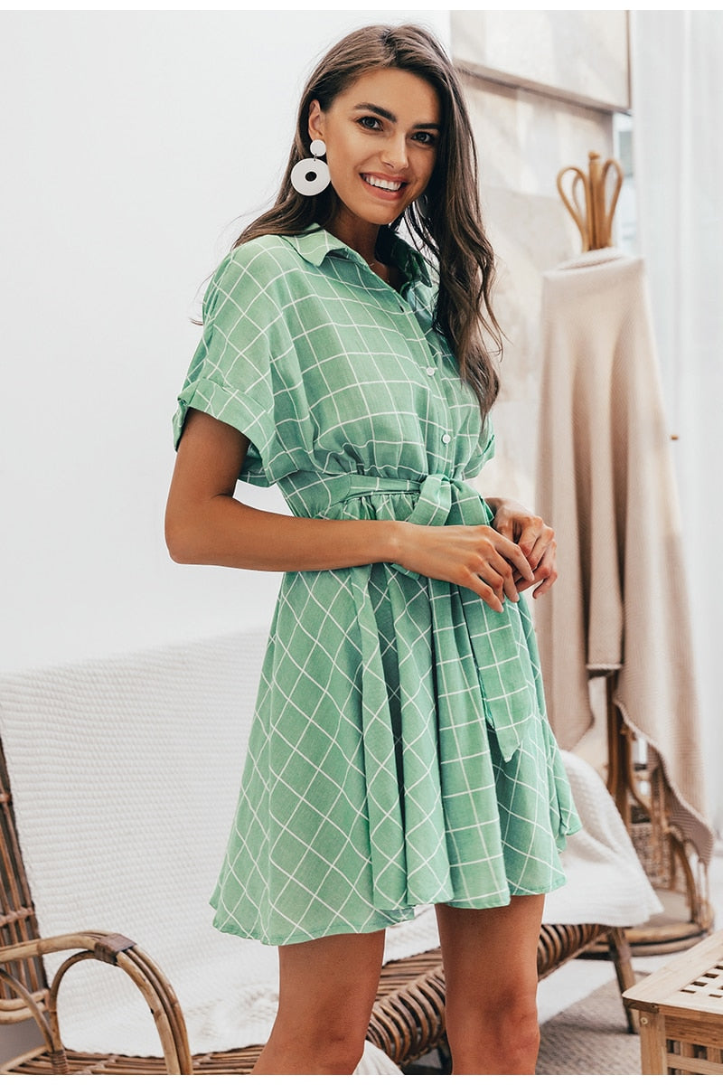 Elegant plaid sashes Short sleeve dress