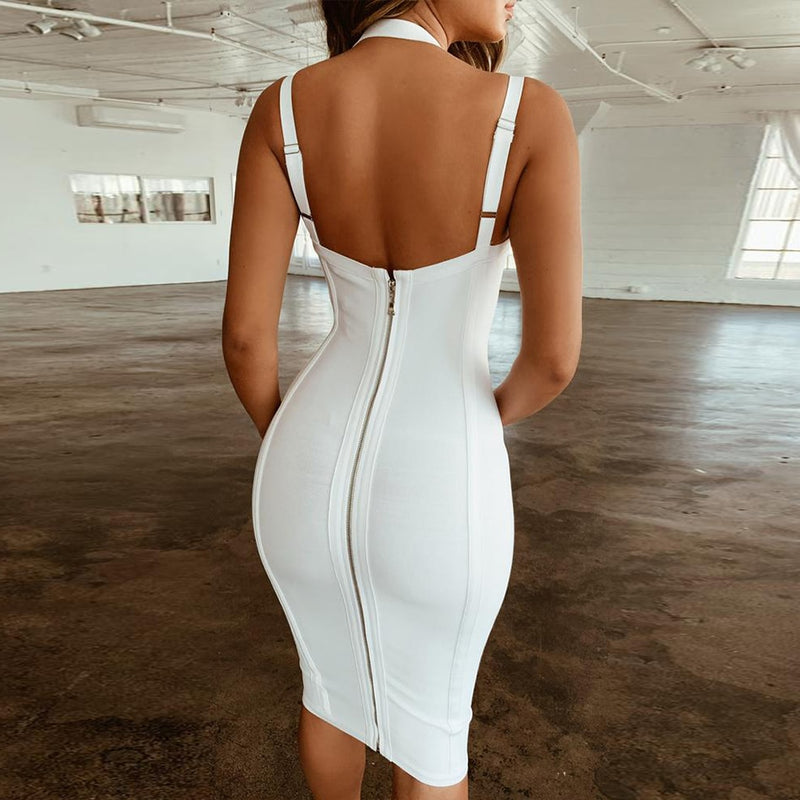 V Neck  Bodycon Bandage Dress