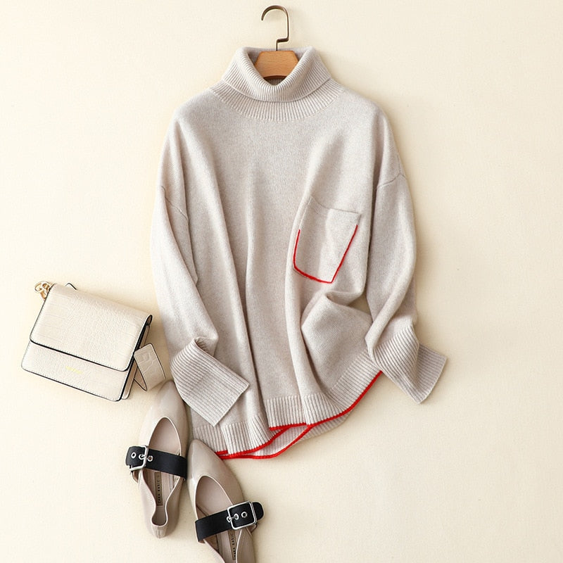 Pullover with A High Collar Sweaters