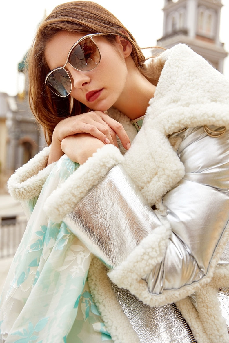 SLIVER GENUINE LEATHER REAL FUR COAT