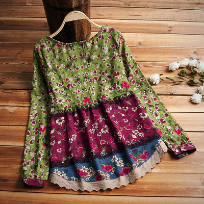 Plus Size Casual Vintage Cotton Linen Floral Blouse