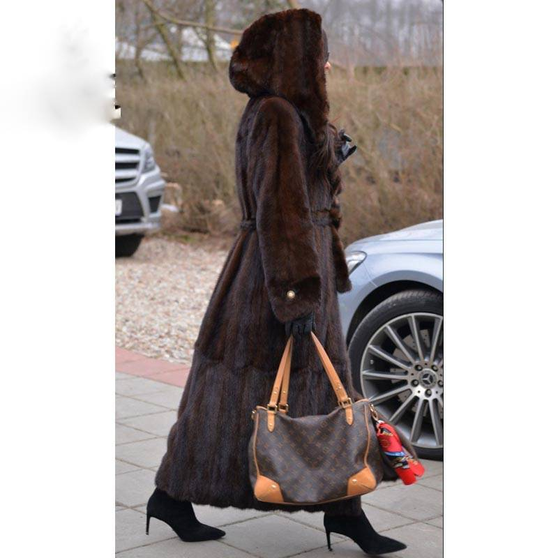 LUXURY REAL MINK FUR HOOD COAT