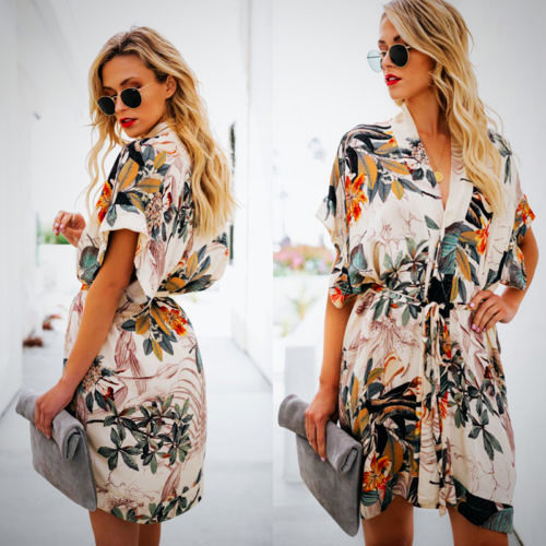 PRINTED FLOWER BEACH DRESS