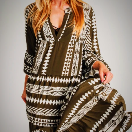 Long Bohemian Tribal Print Dress