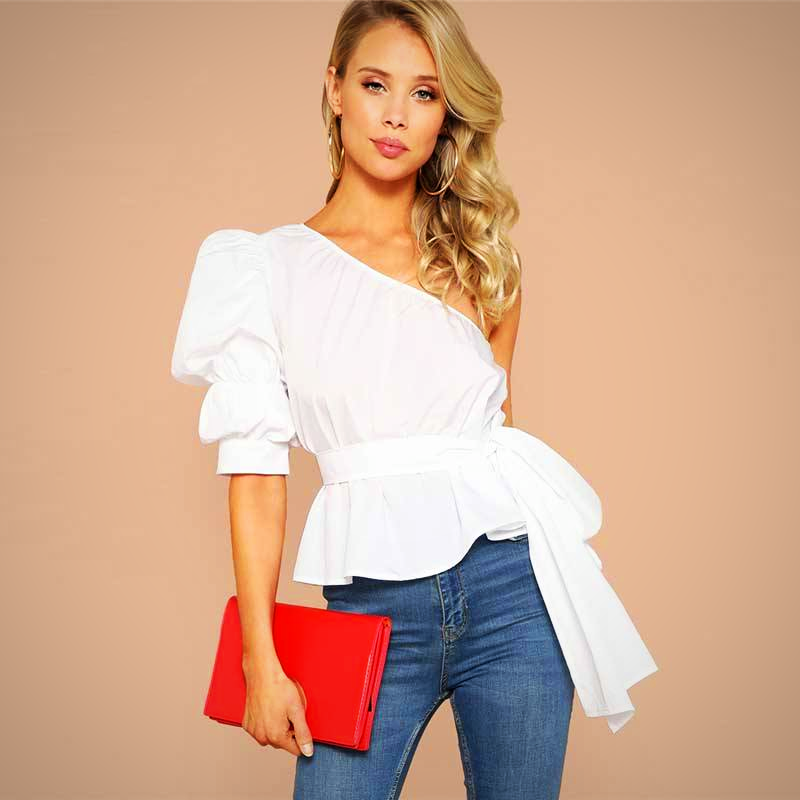 SOLID RUFFLE ELEGANT PARTY TOP BLOUSE