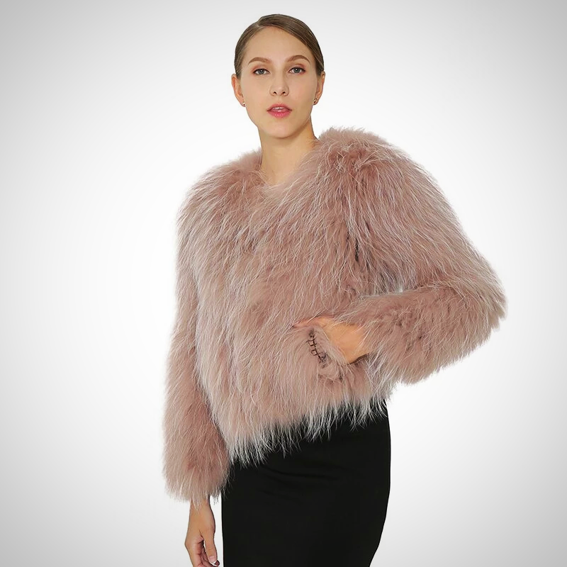 LEATHER KNITTED REAL FUR VEST COAT