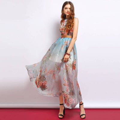 Stylish Sleeveless Floral Patterned Summer Dress