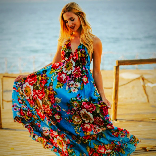 Turquoise Floral Boho Summer Dress